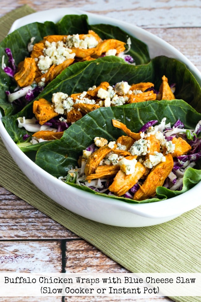 Buffalo Chicken Wraps with Blue Cheese Slaw from Kalyn's Kitchen