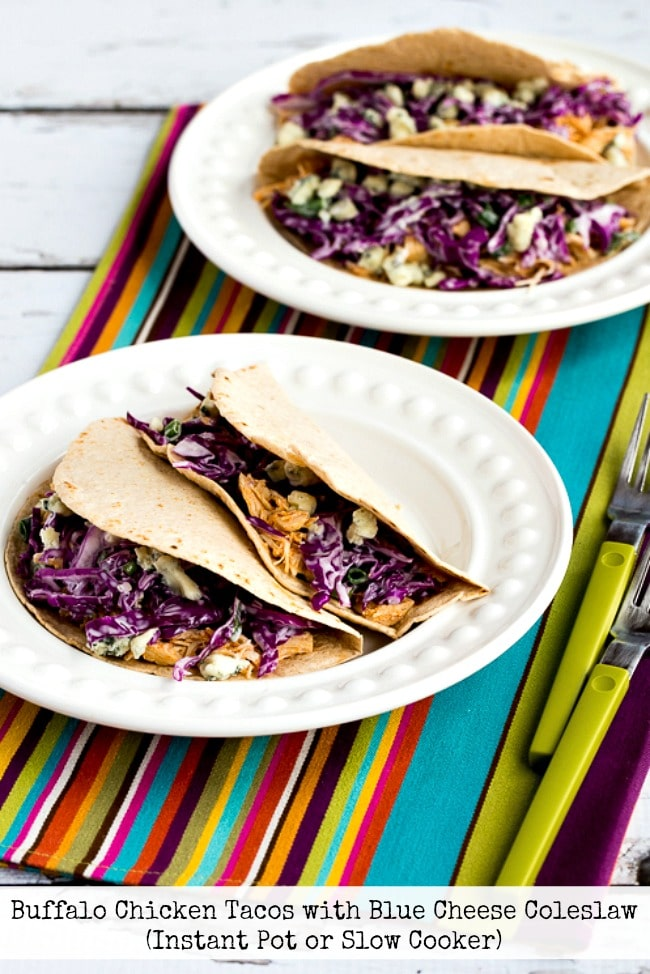 Buffalo Chicken Tacos with Blue Cheese Coleslaw from Kalyn's Kitchen