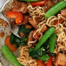 Honey Bourbon Chicken Noodle Bowls (Instant Pot or Slow Cooker) from 365 Days of Slow Cooking featured on Slow Cooker or Pressure Cooker at SlowCookerFromScratch.com