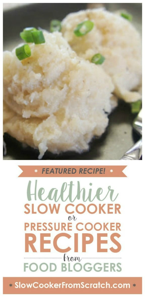 Slow Cooker Garlic Cauliflower Mashed Potatoes from 365 Days of Slow Cooking featured on Slow Cooker or Pressure Cooker at SlowCookerFromScratch.com