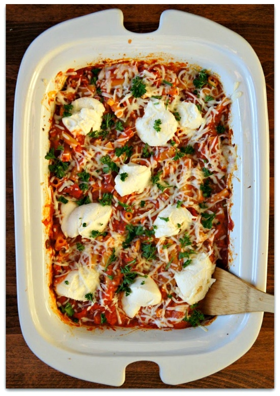 Slow Cooker Baked Ziti with Pepperoni from 365 Days of Slow + Pressure Cooking