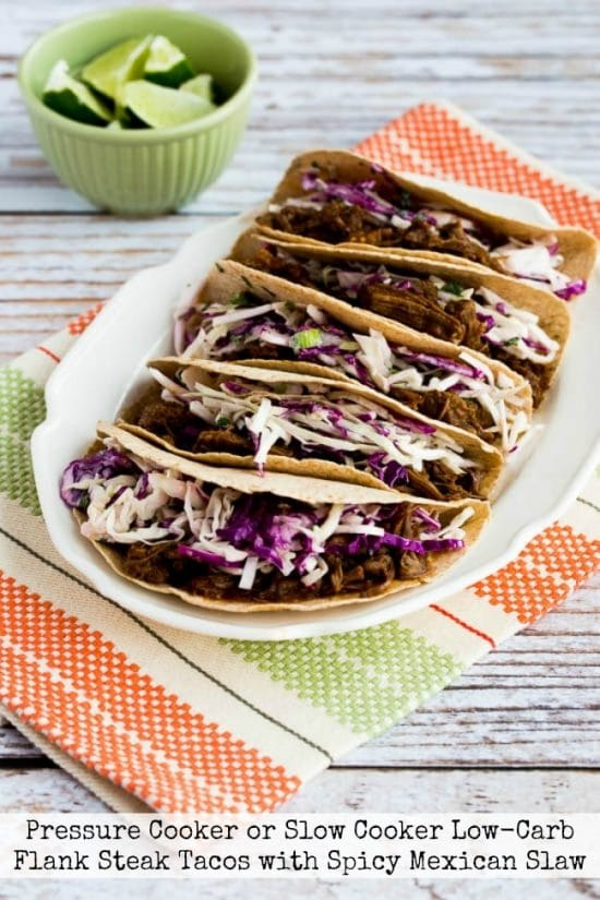 Pressure Cooker (or Slow Cooker) Low-Carb Flank Steak Tacos from Kalyn's Kitchen