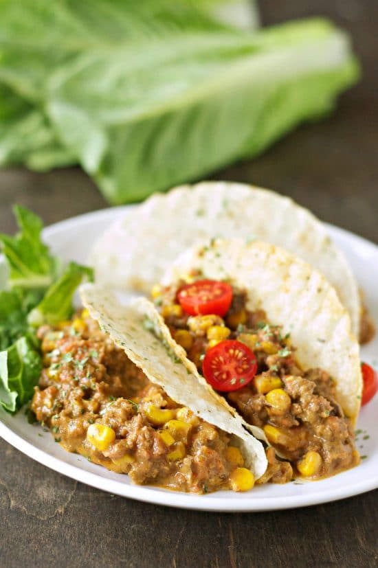 Slow Cooker Cheesy Beef Tacos from Slow Cooker Gourmet