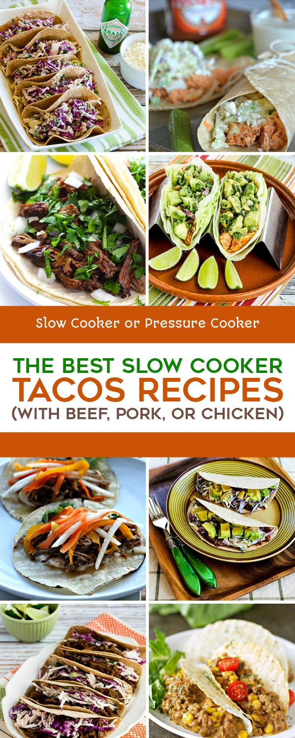 Pinterest image of The BEST Slow Cooker Tacos Recipes (with Beef, Pork, or Chicken)