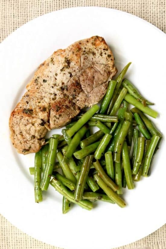 Instant Pot Garlic Herb Pork Chops and Green Beans from 365 Days of Slow + Pressure Cooking