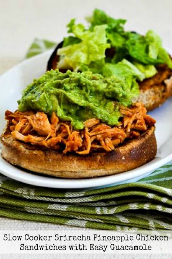 Slow Cooker Sriracha-Pineapple Barbecued Chicken Sandwiches from Kalyn's Kitchen