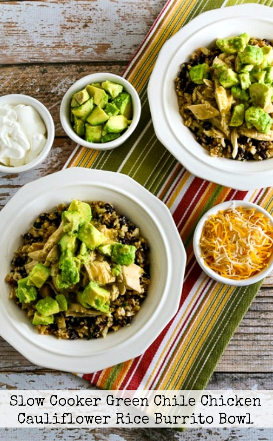 Four Flavorful Recipes for Chicken Burrito Bowls featured on Slow Cooker or Pressure Cooker at SlowCookerFromScratch.com