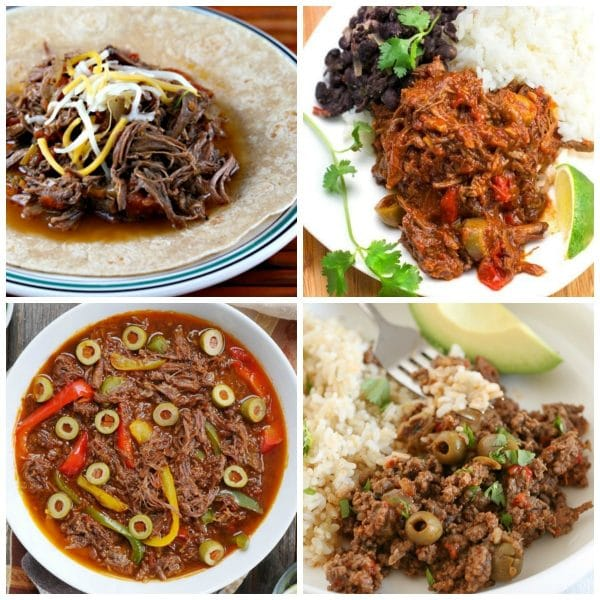 Instant Pot or Slow Cooker Cuban Beef Recipes top photo collage
