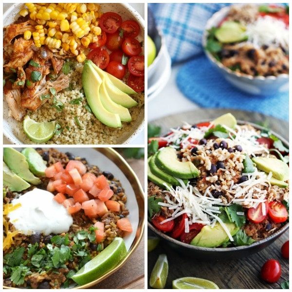 Instant Pot Burrito Bowls for Easy Dinners featured on Slow Cooker or Pressure Cooker at SlowCookerFromScratch.com