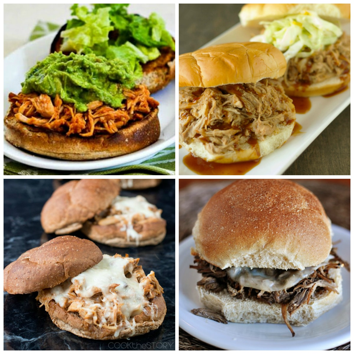 Slow Cooker Sandwiches top photo collage