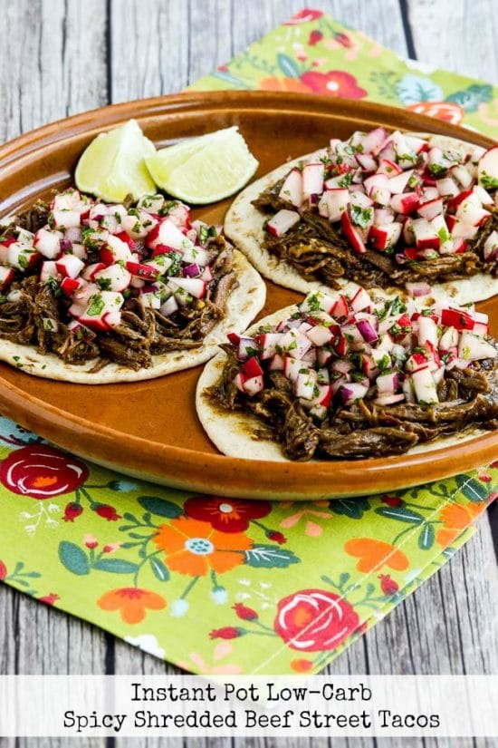 Instant Pot Low-Carb Spicy Shredded Beef Street Tacos from Kalyn's Kitchen