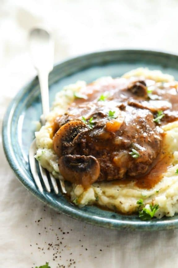 The Best Instant Pot and Slow Cooker Salisbury Steak Dinner Recipes featured on Slow Cooker or Pressure Cooker at SlowCookerFromScratch.com
