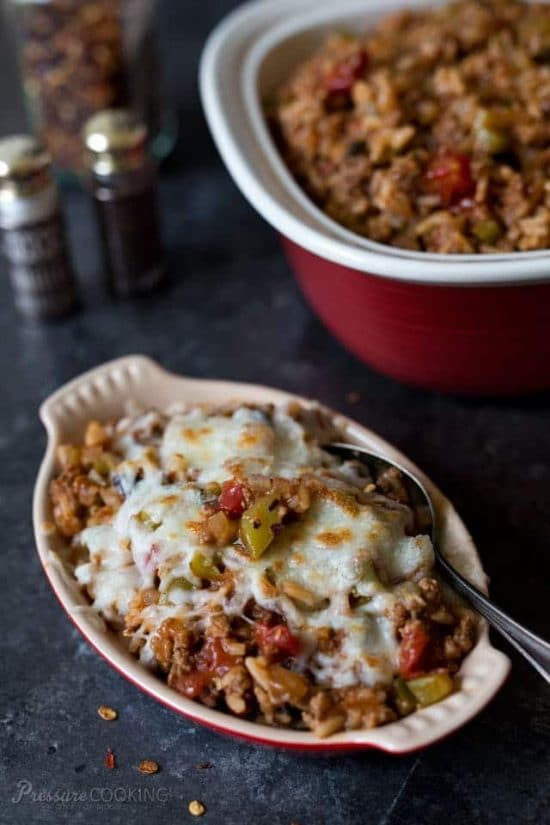 Ten Tasty Instant Pot Stuffed Peppers Recipes featured on Slow Cooker or Pressure Cooker at SlowCookerFromScratch.com