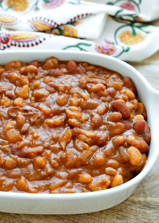 Slow Cooker Mexican Baked Beans from Barefeet in the Kitchen
