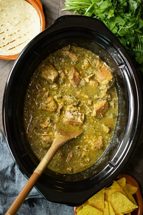 Ten Terrific Slow Cooker or Instant Pot Chile Verde Recipes featured on Slow Cooker or Pressure Cooker at SlowCookerFromScratch.com