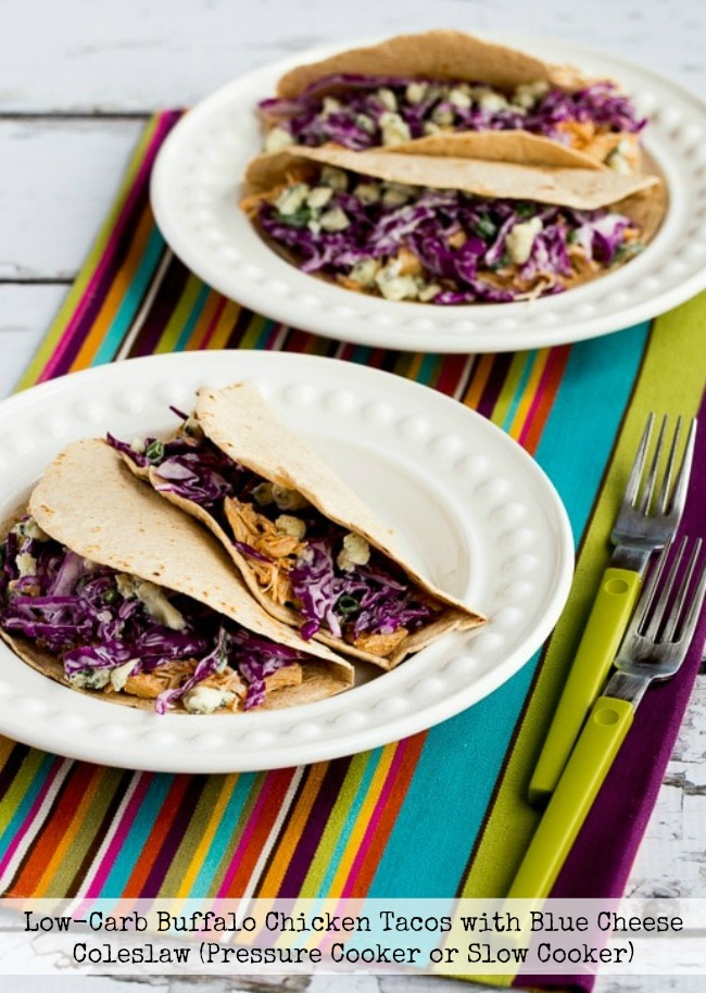 Low-Carb Buffalo Chicken Tacos with Blue Cheese Coleslaw