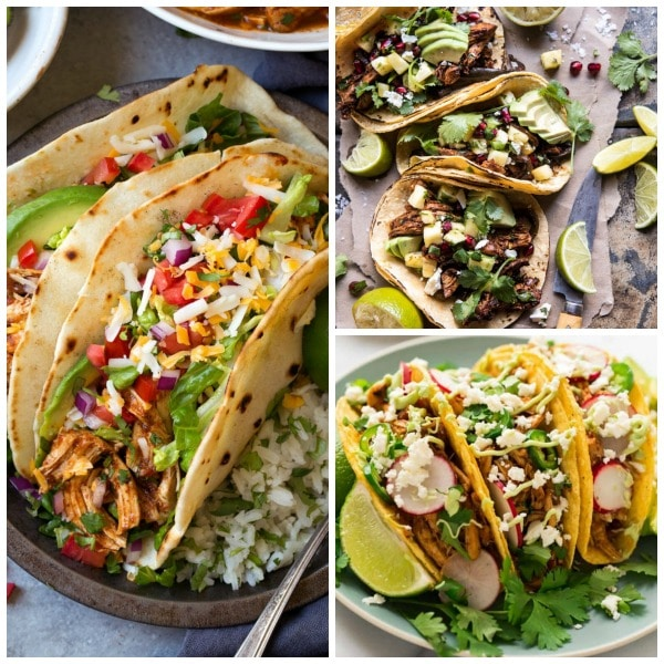 Food Bloggers BEST Instant Pot Chicken Tacos featured on Slow Cooker or Pressure Cooker at SlowCookerFromScratch.com