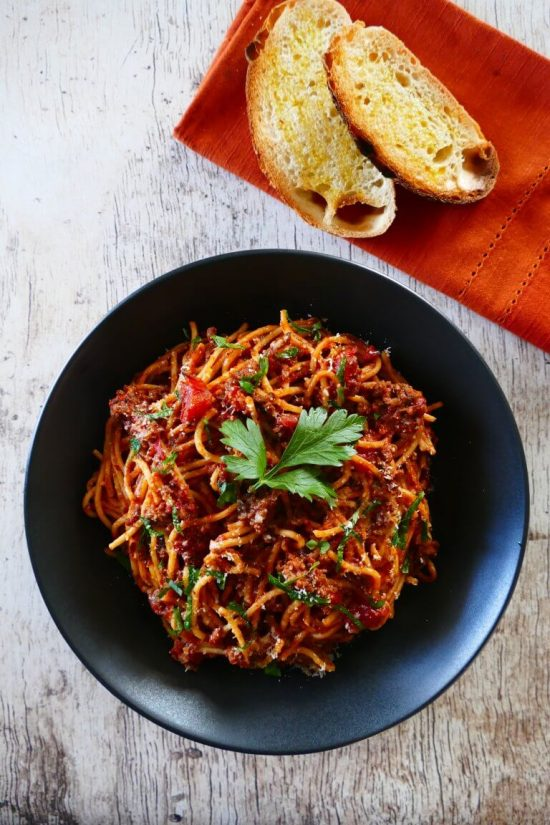 This Easy Homemade Instant Pot Spaghetti with Meat Sauce from Paint the Kitchen Red