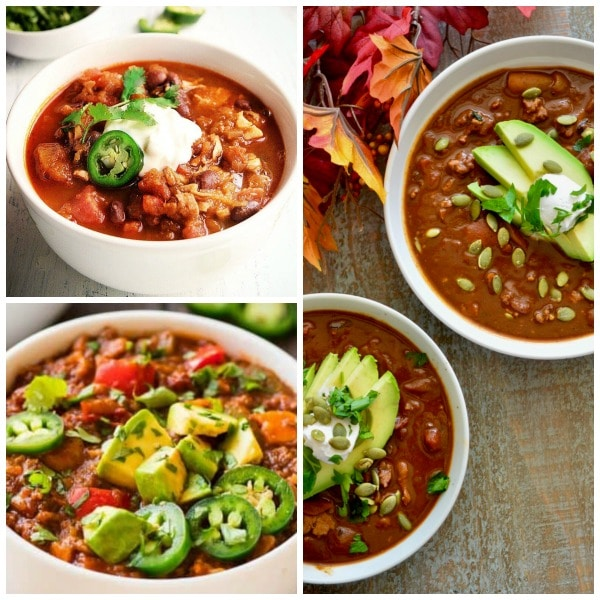 Ten Instant Pot Pumpkin Chili Recipes for Fall featured on Slow Cooker or Pressure Cooker at SlowCookerFromScratch.com
