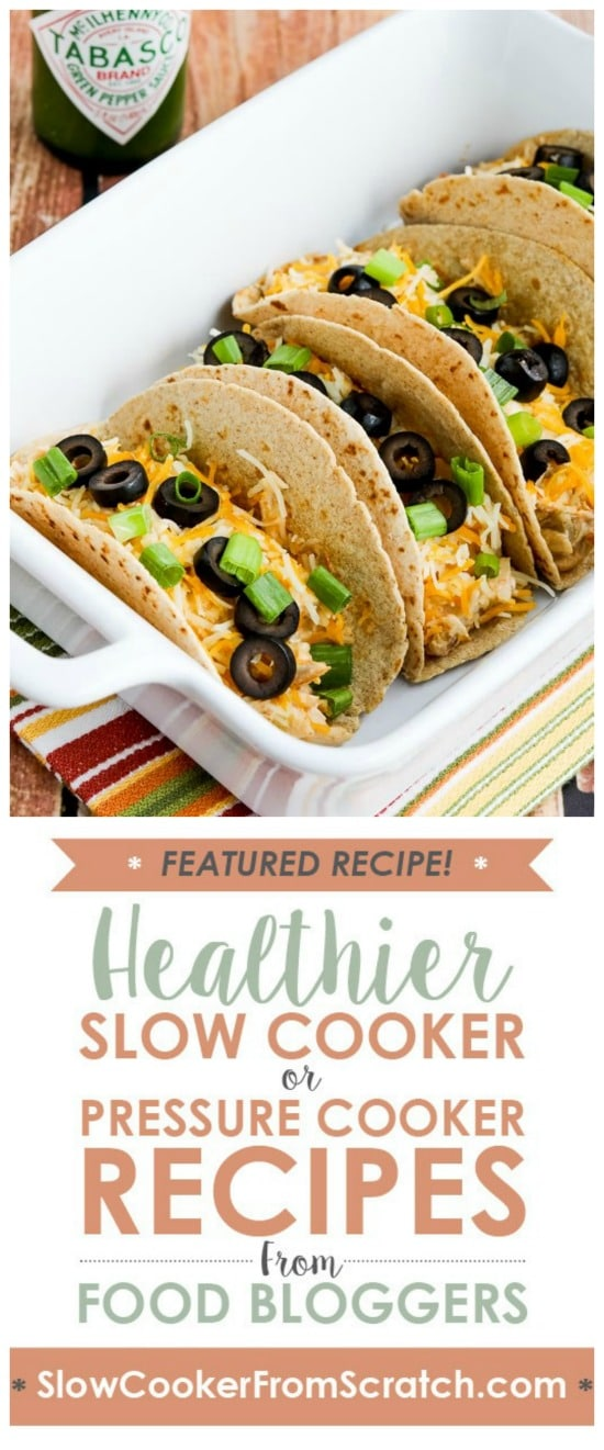 Low-Carb Cheesy Chicken Tacos from Kalyn's Kitchen (Instant Pot or Slow Cooker) featured on Slow Cooker or Pressure Cooker at SlowCookerFromScratch.com