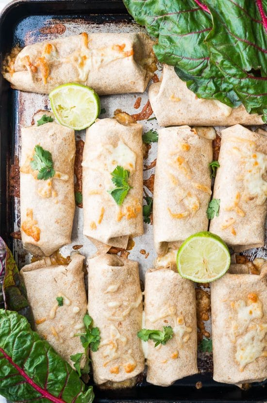 Pressure Cooker Pinto Bean and Chard Burritos from Kitschen Cat