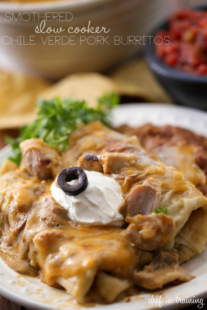 Smothered Slow Cooker Chile Verde Pork Burritos from Chef In Training