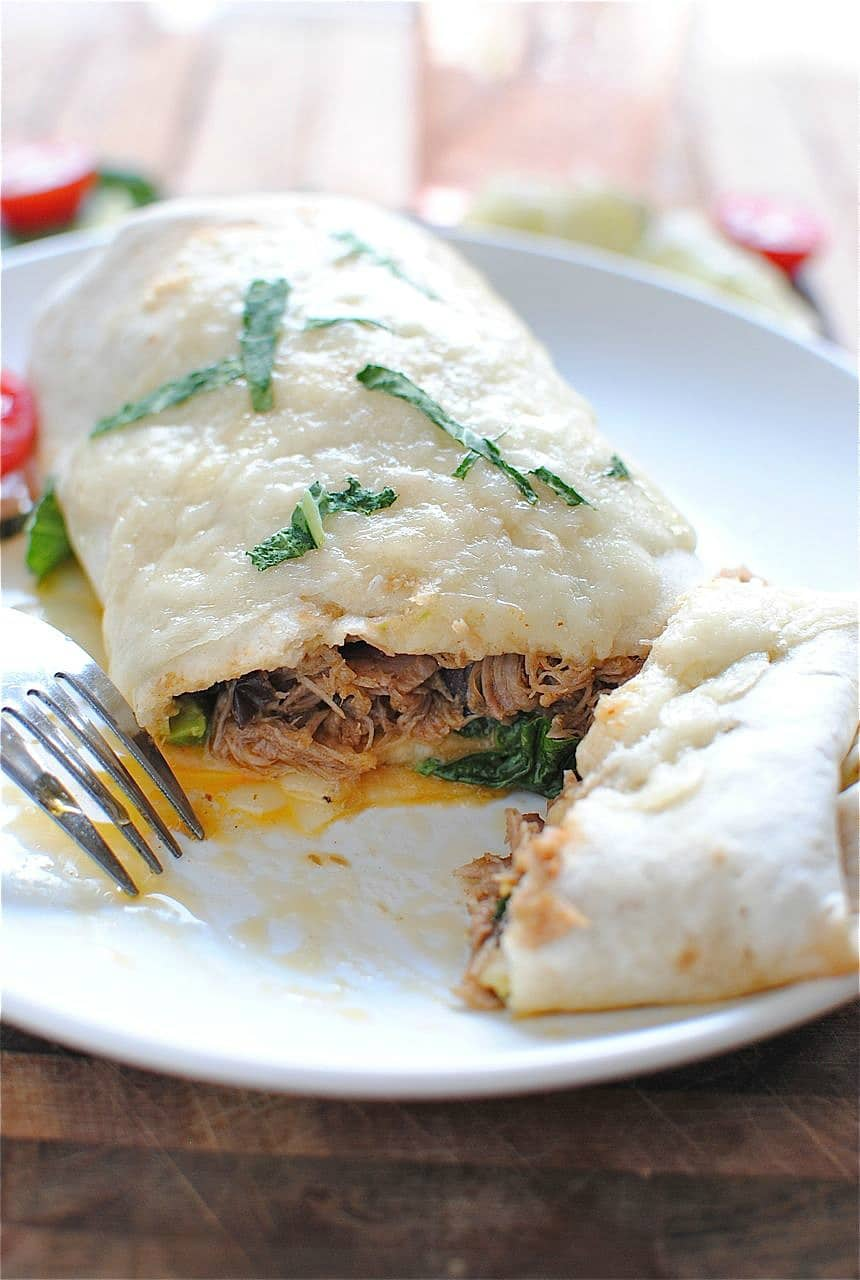 Slow Cooker Pork Burritos from Bev Cooks