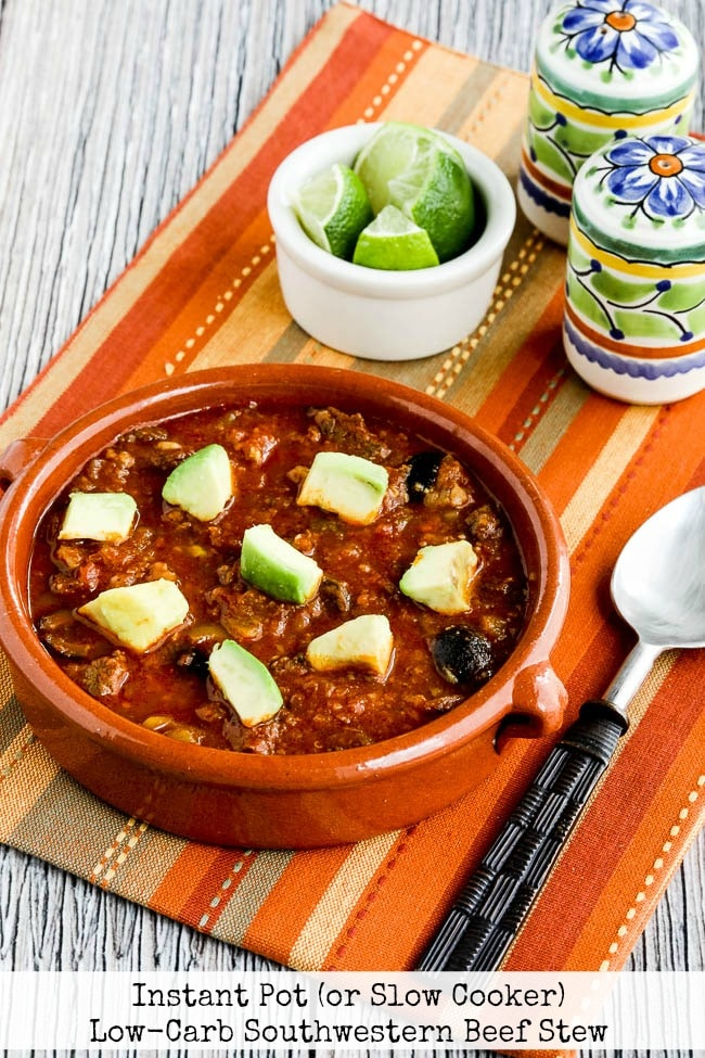 Instant Pot (or Slow Cooker) Low-Carb Southwestern Beef Stew from Kalyn's Kitchen