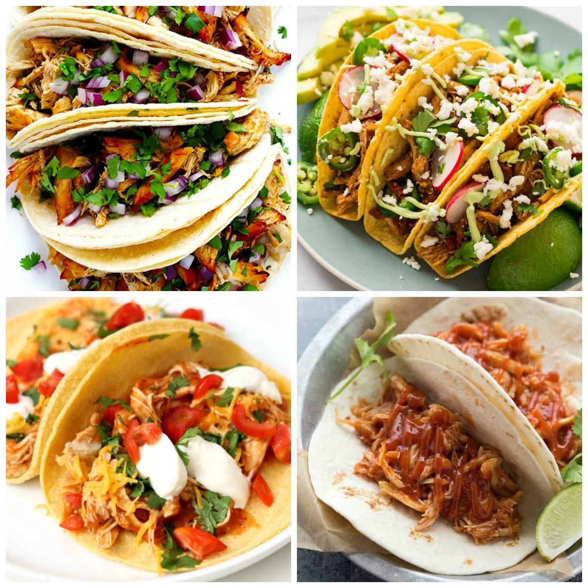 Four Variations for Chipotle Chicken Tacos top photo collage