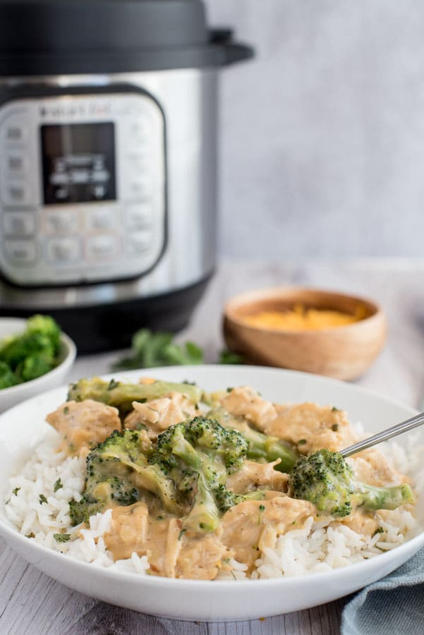 Pressure Cooker Creamy Chicken and Broccoli Over Rice from Pressure Cooking Today