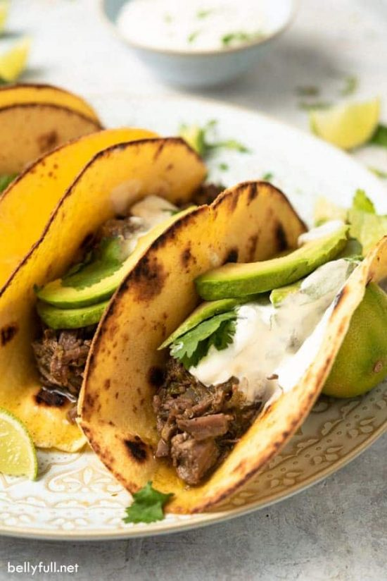 Slow Cooker Salsa Verde Beef Tacos from Belly Full
