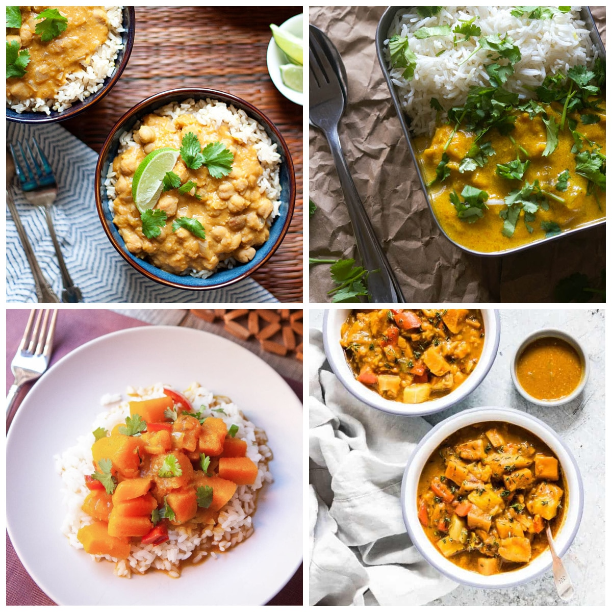 Slow Cooker and Instant Pot Pumpkin Curry Recipes top photo collage