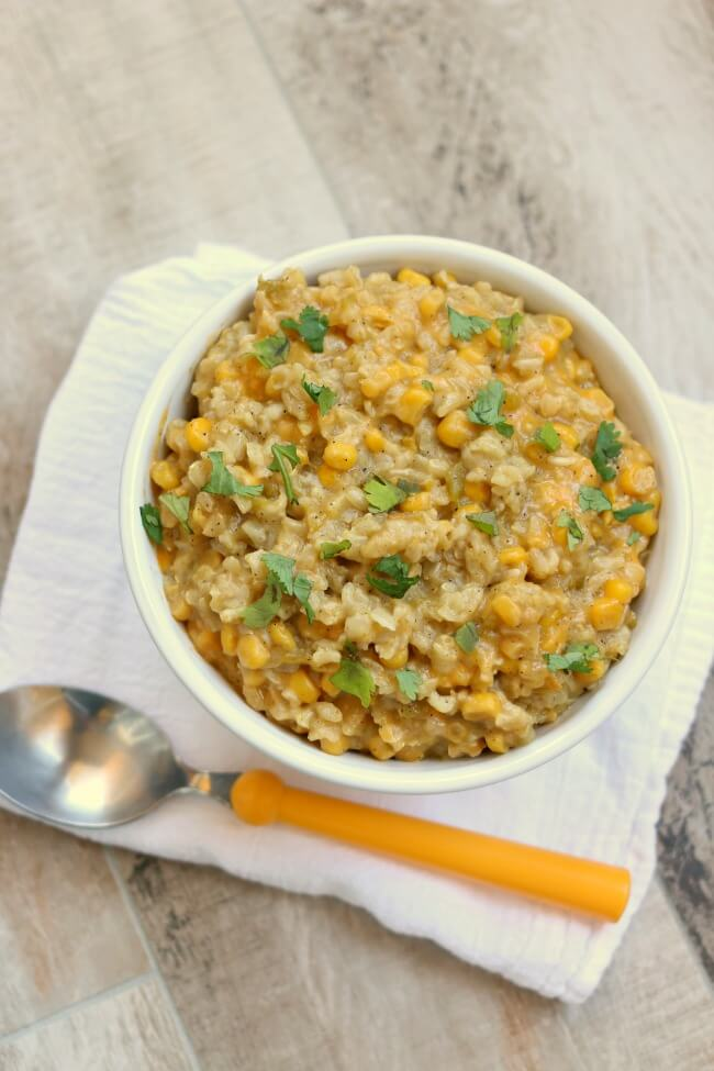 Slow Cooker Cheesy Green Sauce Enchilada Brown Rice