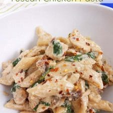 Healthy Tuscan Chicken Pasta from My Crazy Good Life (Instant Pot, Slow Cooker, or Stovetop) featured on Slow Cooker or Pressure Cooker at SlowCookerFromScratch.com
