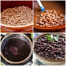 How to Cook Dried Beans in the Slow Cooker or Instant Pot collage photo of beans from Instant Pot or Slow Cooker