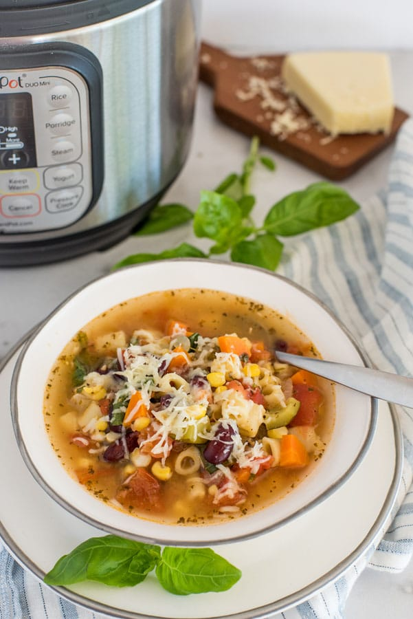 Instant Pot Garden Fresh Minestrone Soup from Pressure Cooking Today