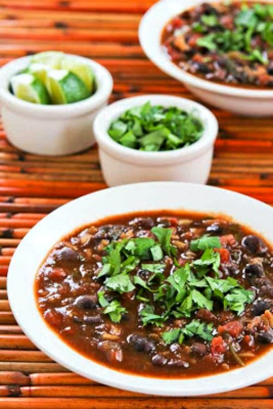 Slow Cooker Black Bean and Rice Soup from Kalyn's Kitchen finished soup in two bowls
