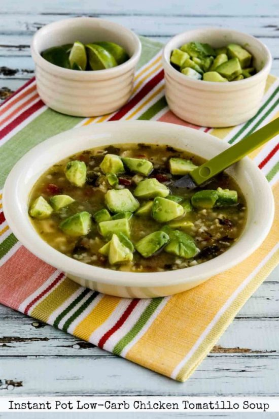 Instant Pot Low-Carb Chicken Tomatillo Soup from Kalyn's Kitchen