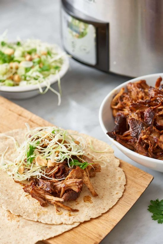 Slow-Cooked Hoisin and Ginger Pork Wraps with Peanut Slaw from The Kitchn