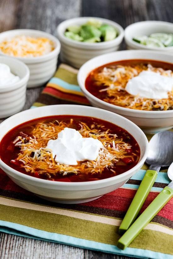 Instant Pot (or Stovetop) Low-Carb Taco Soup from Kalyn's Kitchen