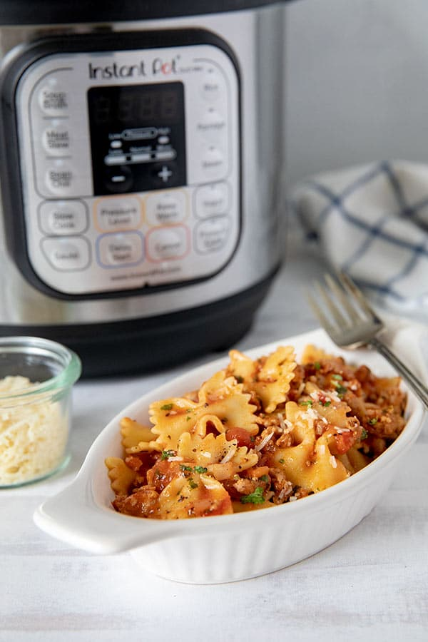 Pressure Cooker Bow Tie Pasta from Pressure Cooking Today