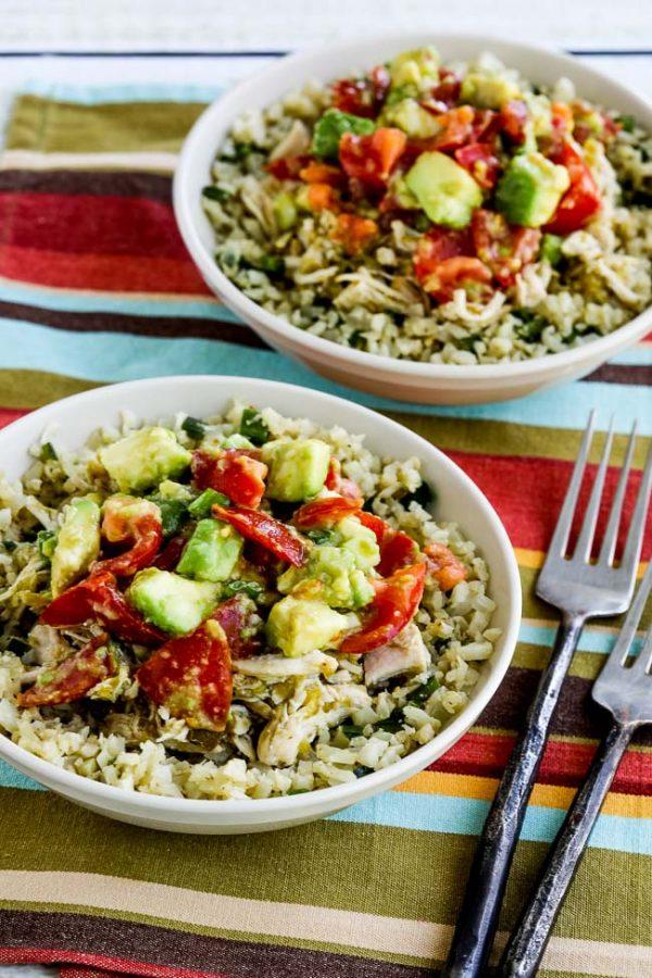 Green Chile Chicken Burrito Bowl from Kalyn's Kitchen