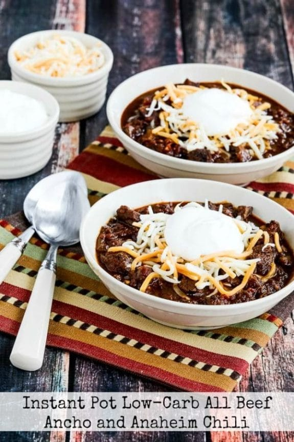 The Best Low-Carb and Keto Instant Pot Chili Recipes featured on Slow Cooker or Pressure Cooker at SlowCookerFromScratch.com