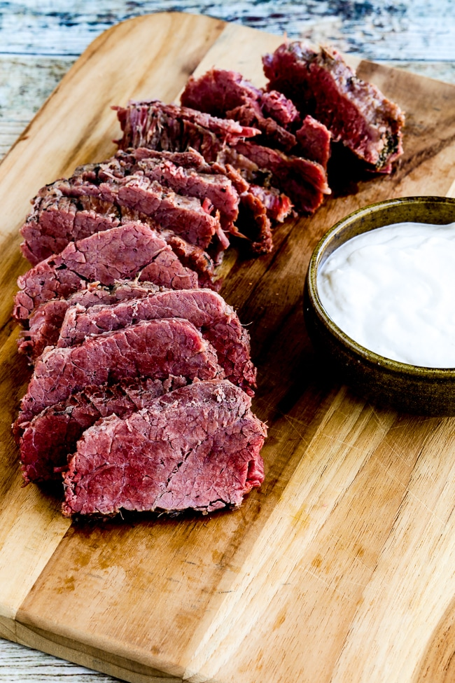 Instant Pot Corned Beef with Creamy Horseradish Sauce from Kalyn's Kitchen