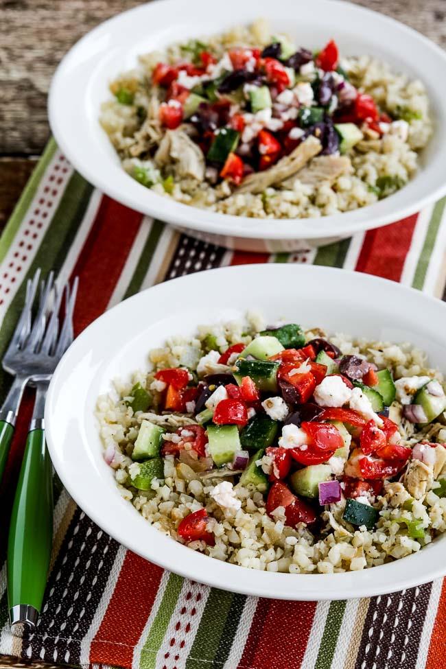 Instant Pot Cauliflower Rice Greek Chicken Bowls from Kalyn's Kitchen