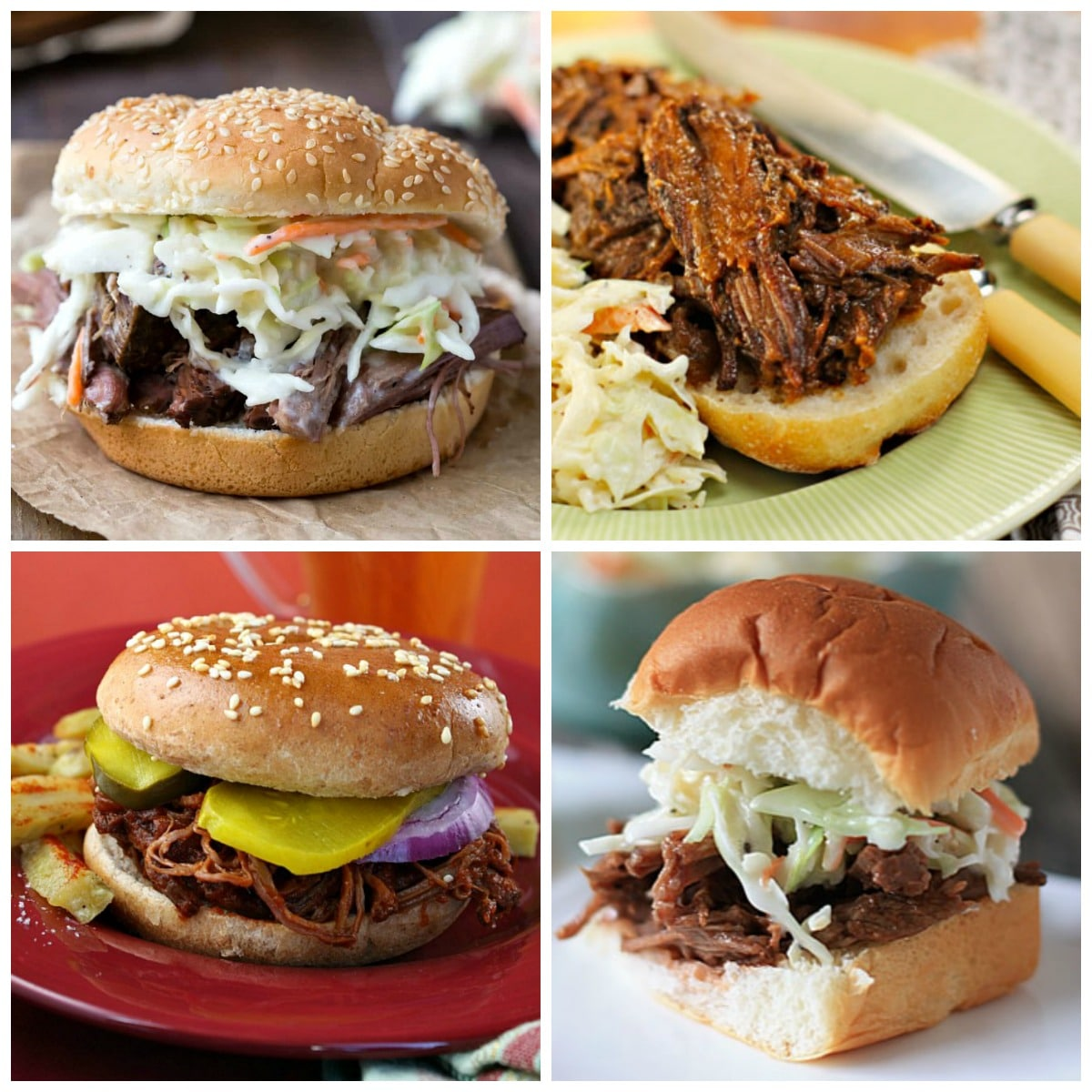 Slow Cooker Barbecued Beef Sandwiches top photo collage