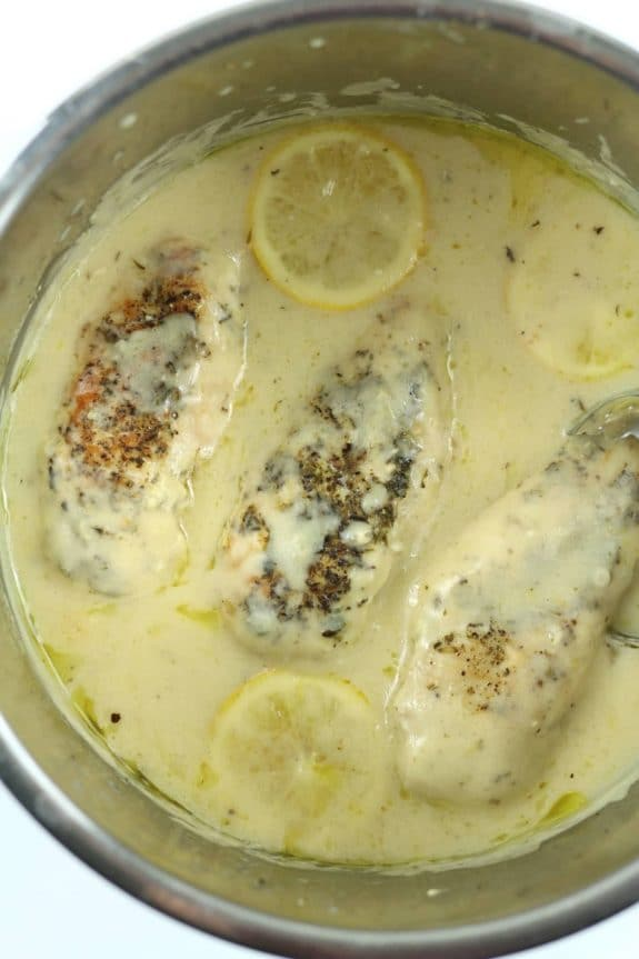 Instant Pot Creamy Lemon Chicken from 365 Days of Slow + Pressure Cooking