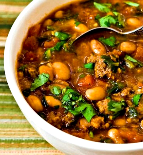 Pressure Cooker Pinto Bean and Ground Beef Stew from Kalyn's Kitchen