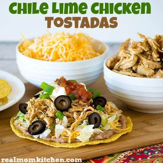 Four Fantastic Recipes for Chicken Tostadas featured on Slow Cooker or Pressure Cooker at SlowCookerFromScratch.com