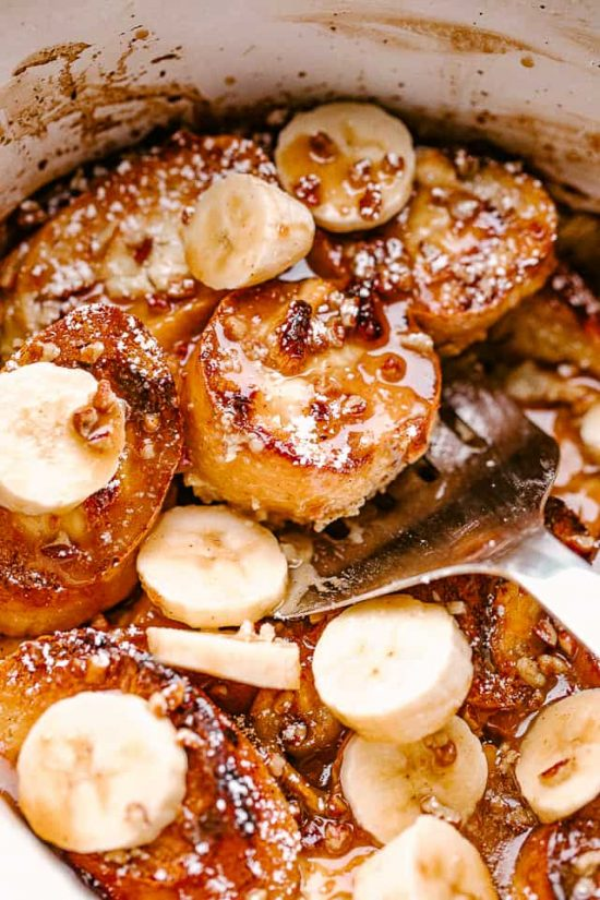 Creamy Crock Pot Banana French Toast from Diethood